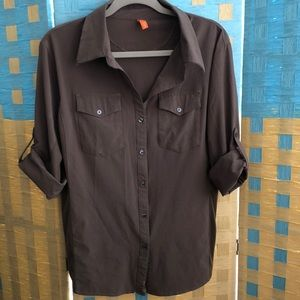 Lucy XL brown button up blouse